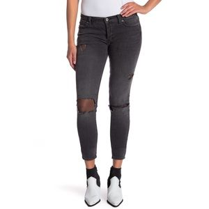 NWT Free People Skinny Fishnet Detail Jeans